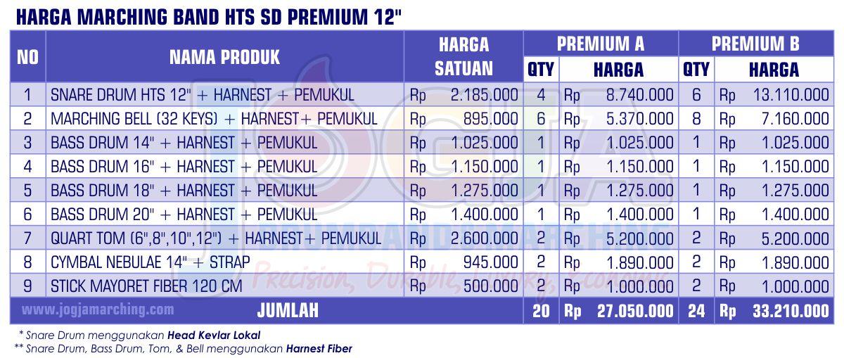Harga Marching Band SD Premium 12 2020 JM