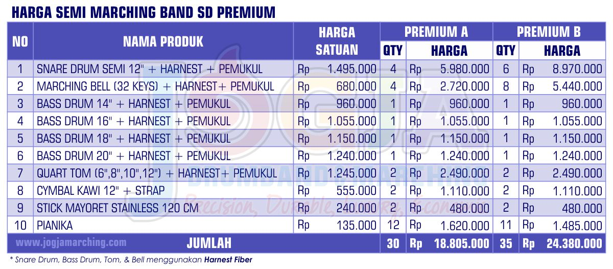 Harga Semi Marching SD Premium 2020 JM