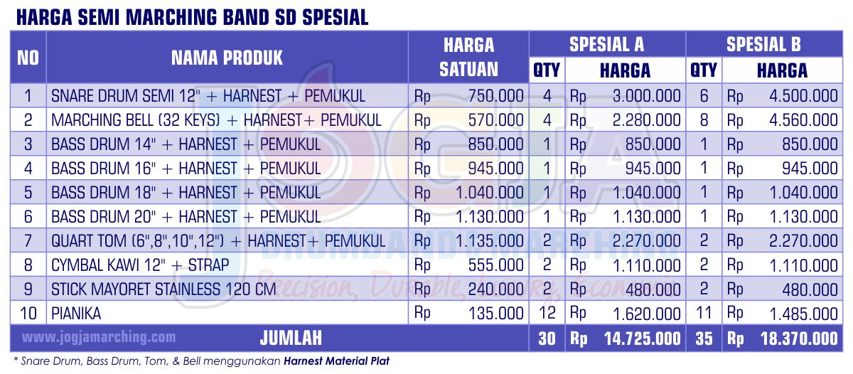 Harga Semi Marching SD Spesial 2020 JM