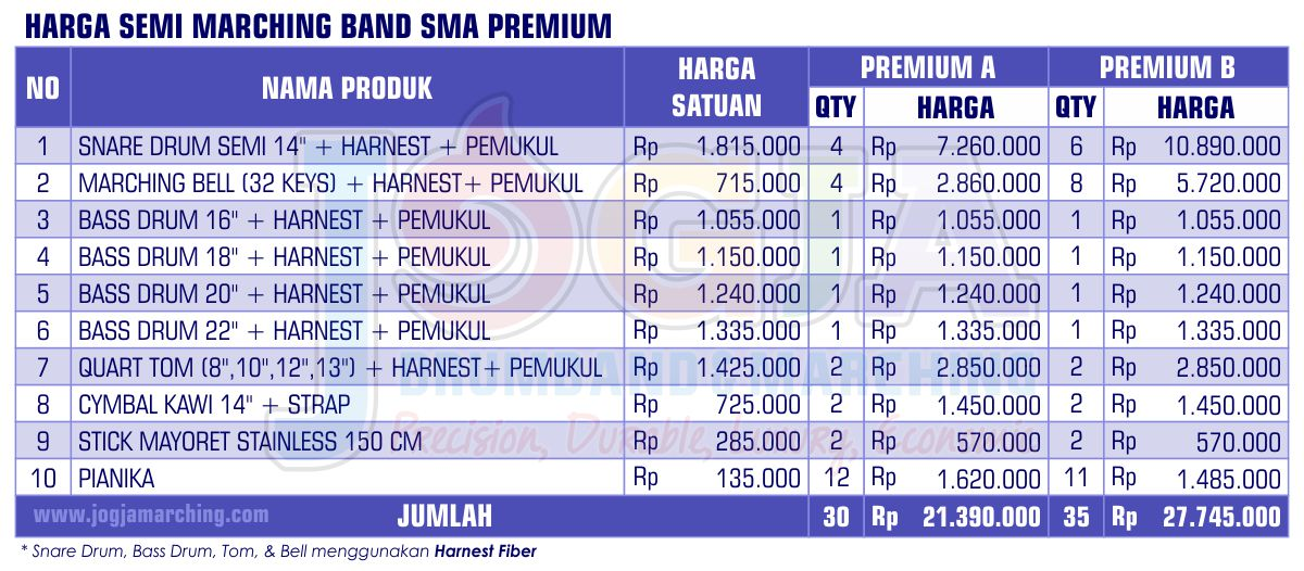 Harga Semi Marching SMA Premium 2020 JM