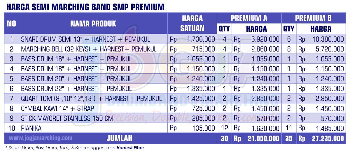 Harga Semi Marching SMP Premium 2020 JM
