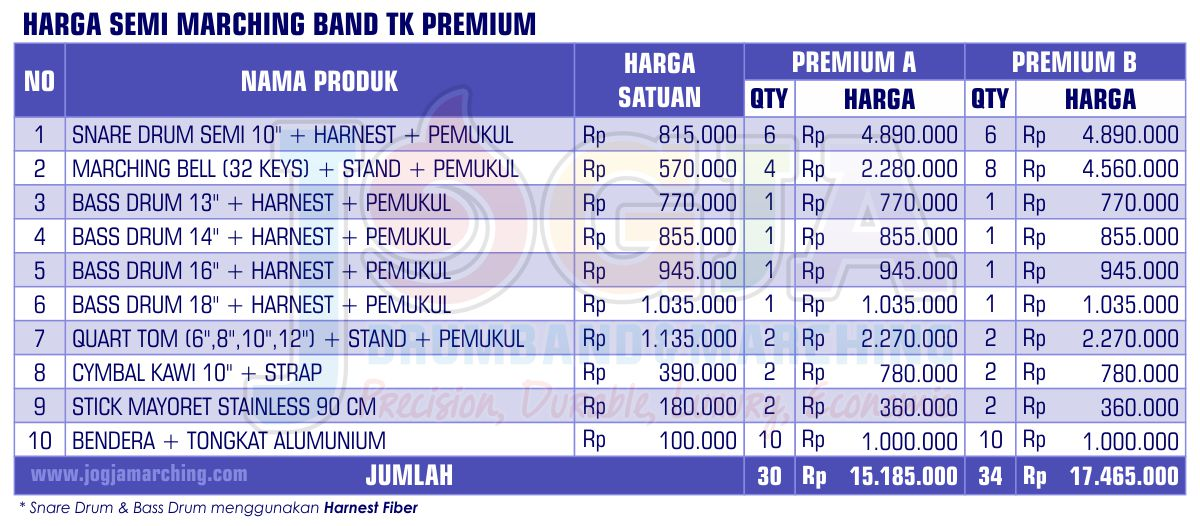 Harga Semi Marching TK Premium 2020 JM