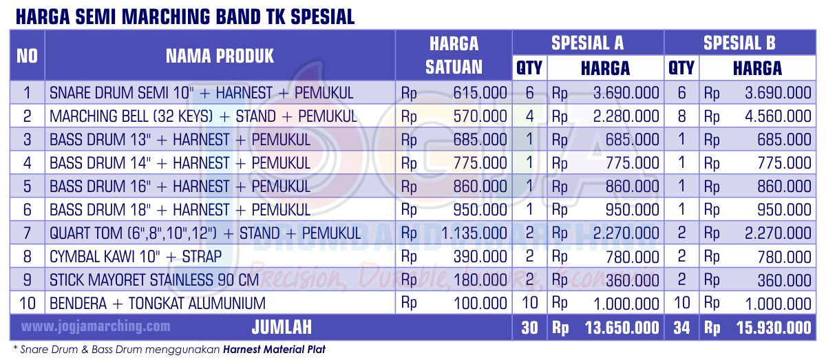 Harga Semi Marching TK Spesial 2020 JM